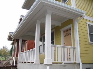 ... Of Column Wraps And Baluster Spacing Patterns In New Construction.  Railings Are Constructed Of Composite And Cedar. Many Are Painted, But Some  Are Not ...
